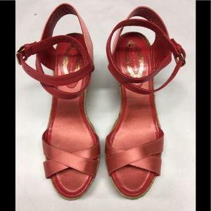 ELIE TAHARI Satin Rita Wedge Espadrilles Sandals